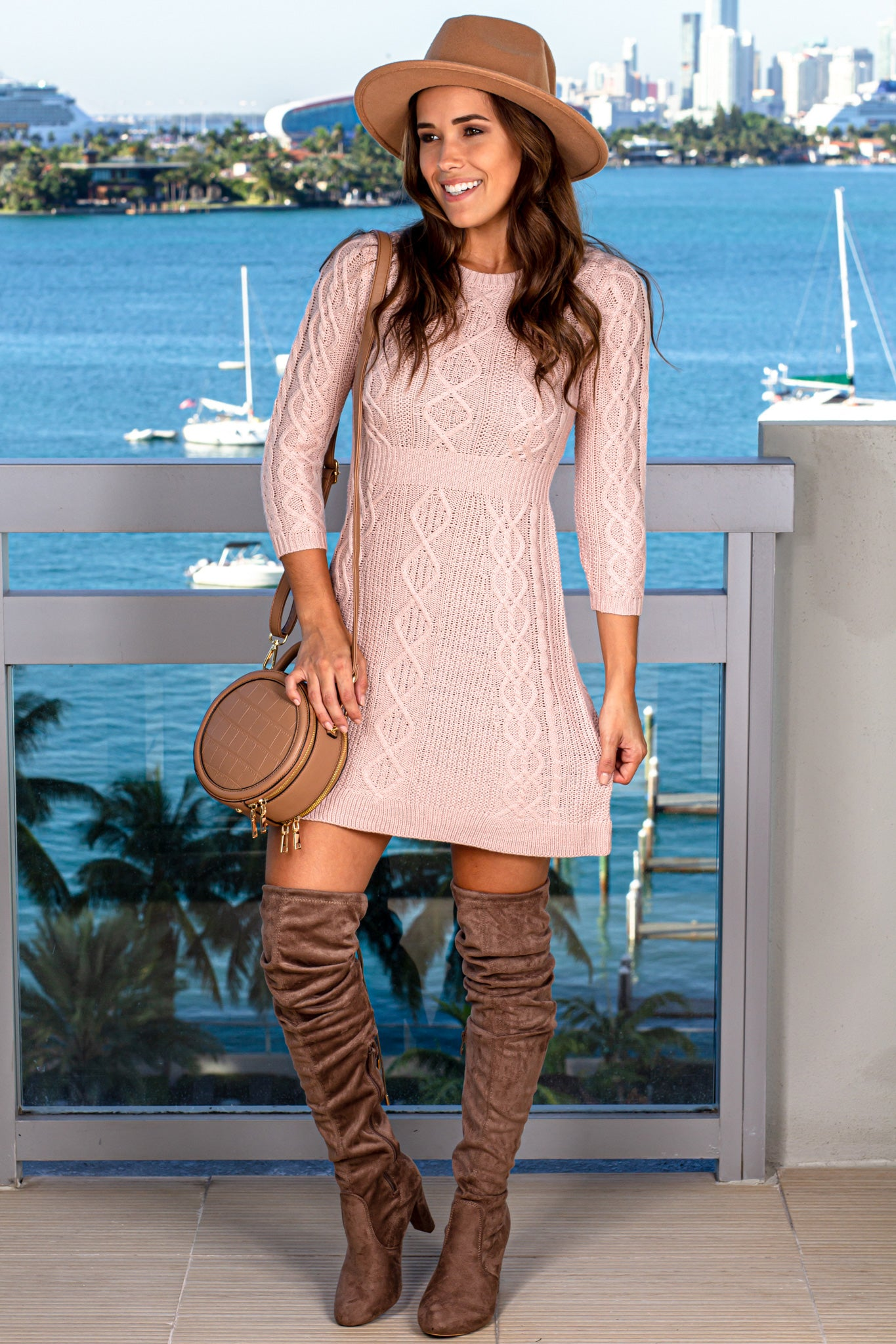 Blush Knit Short Dress