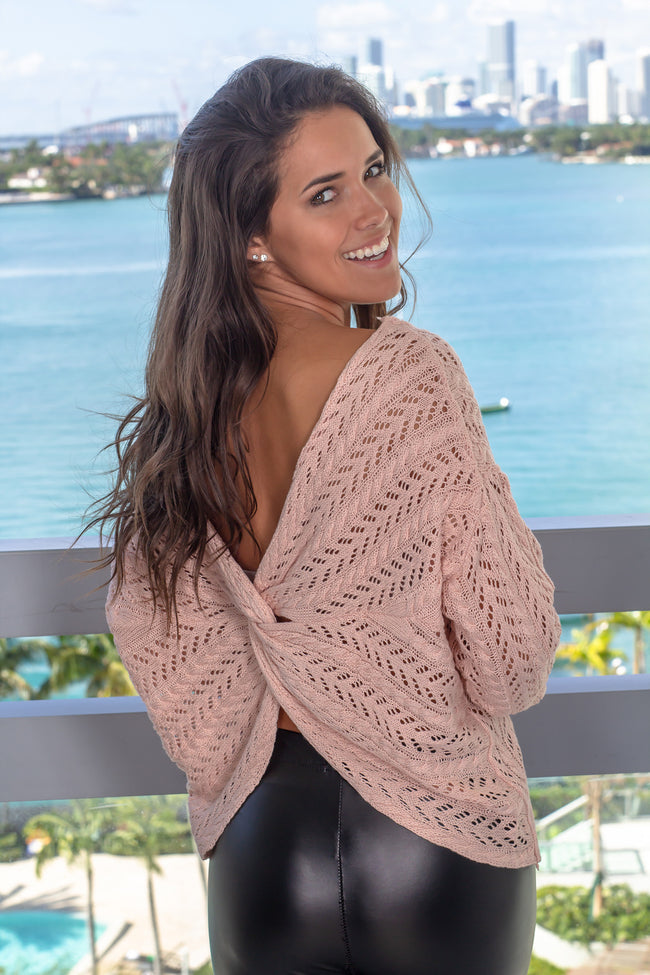 Blush Knit Top with Twist Back