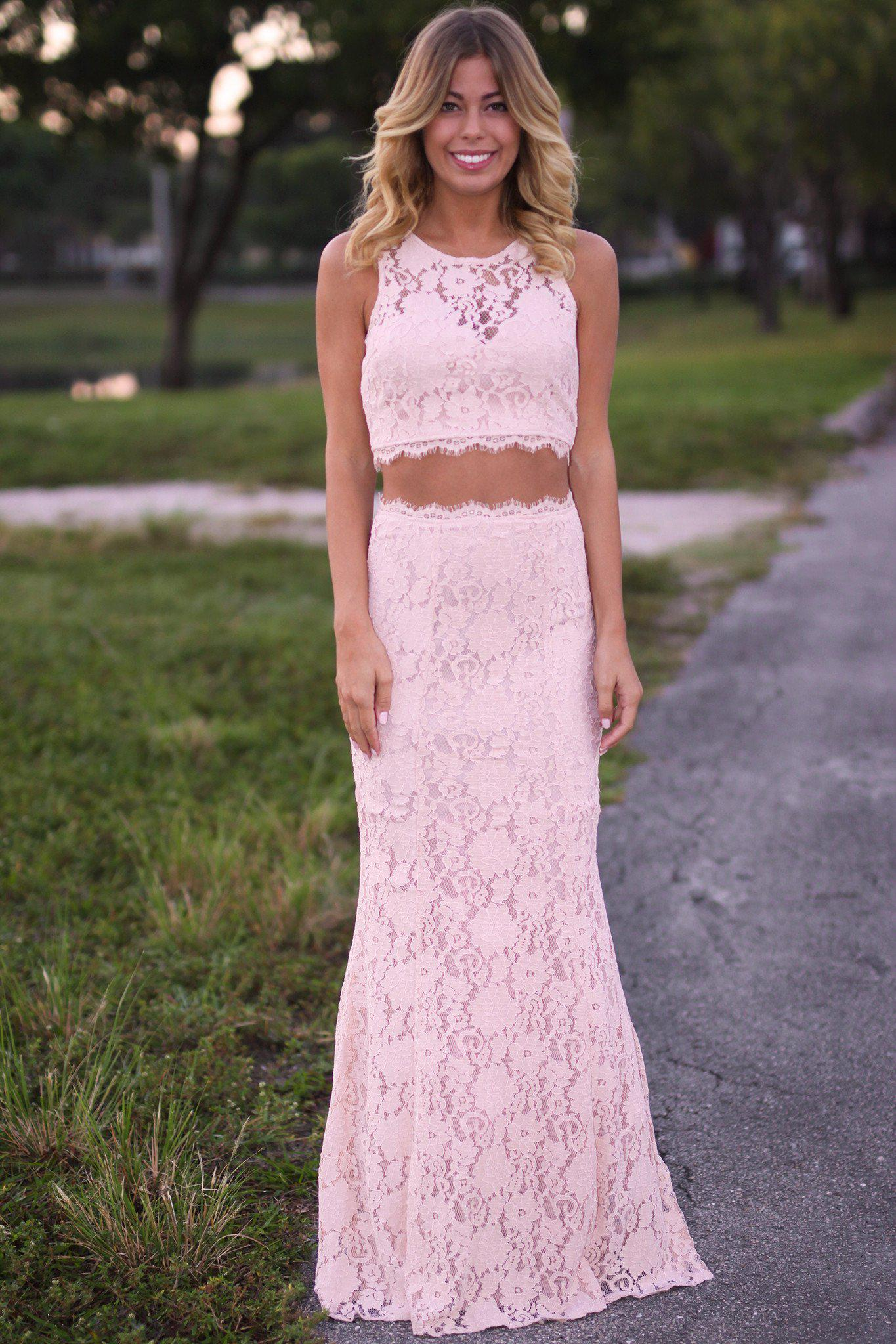 Blush Lace Crop Top and Skirt Set