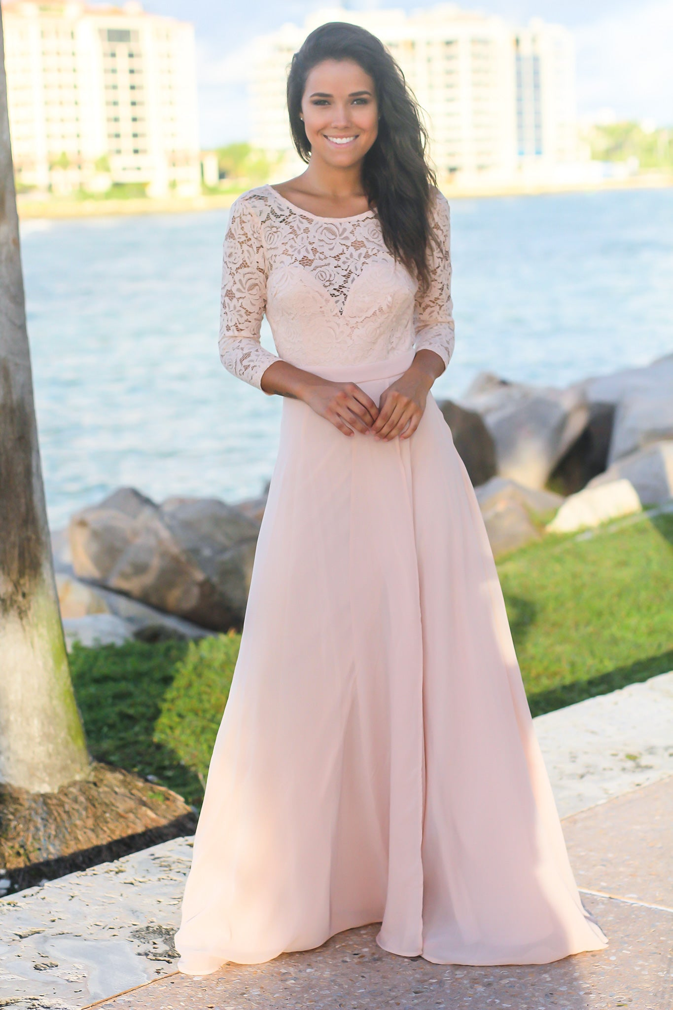 Blush Lace Maxi Dress with 3/4 Sleeves