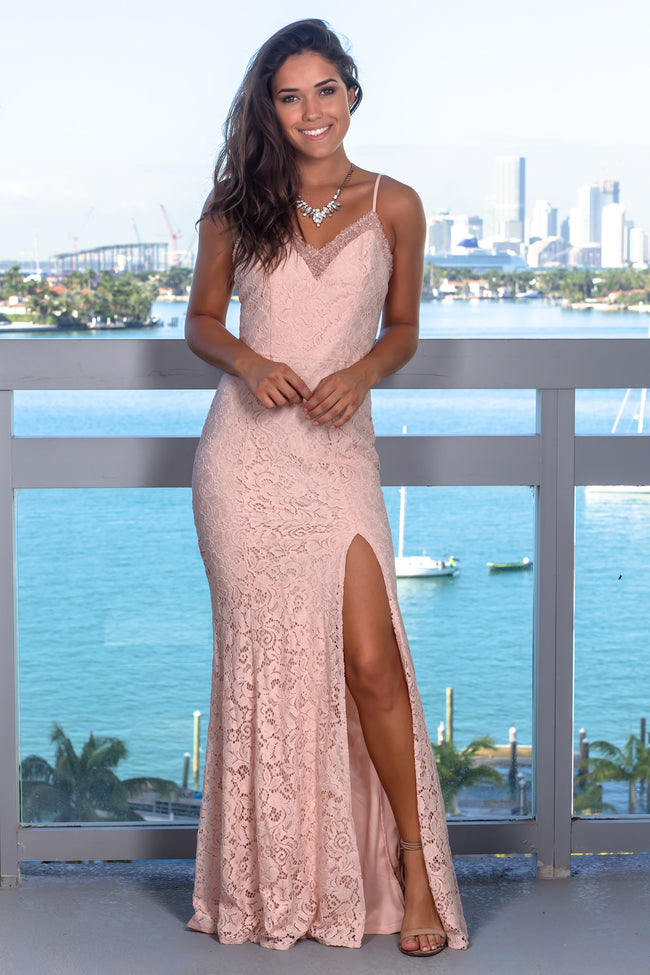Blush Lace Maxi Dress with Beaded Top