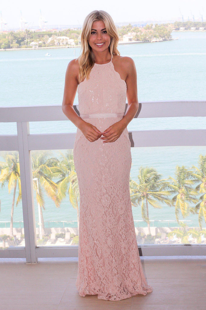 Blush Lace Maxi Dress with Criss Cross Back
