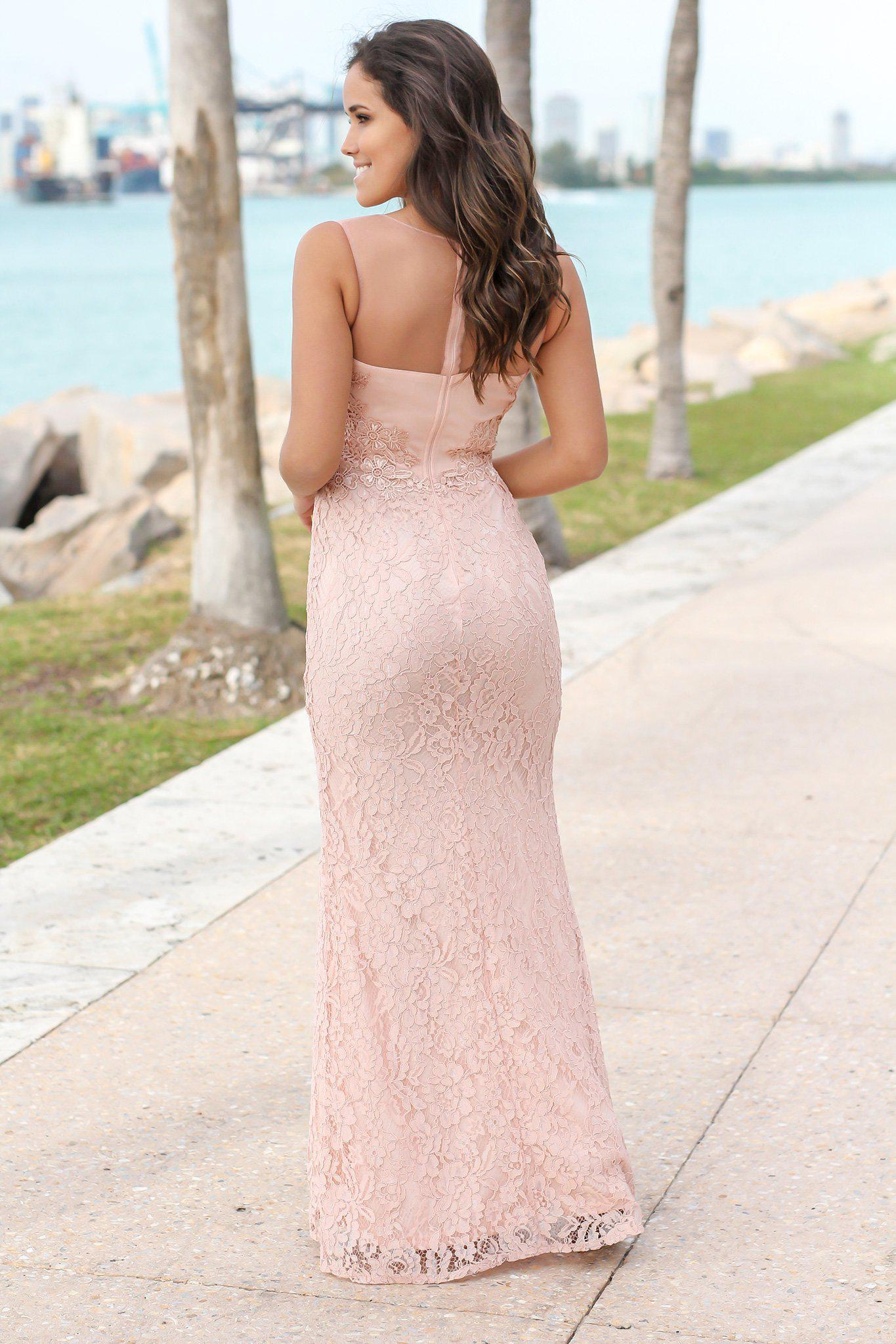 Blush Lace Maxi Dress with Mesh Detail