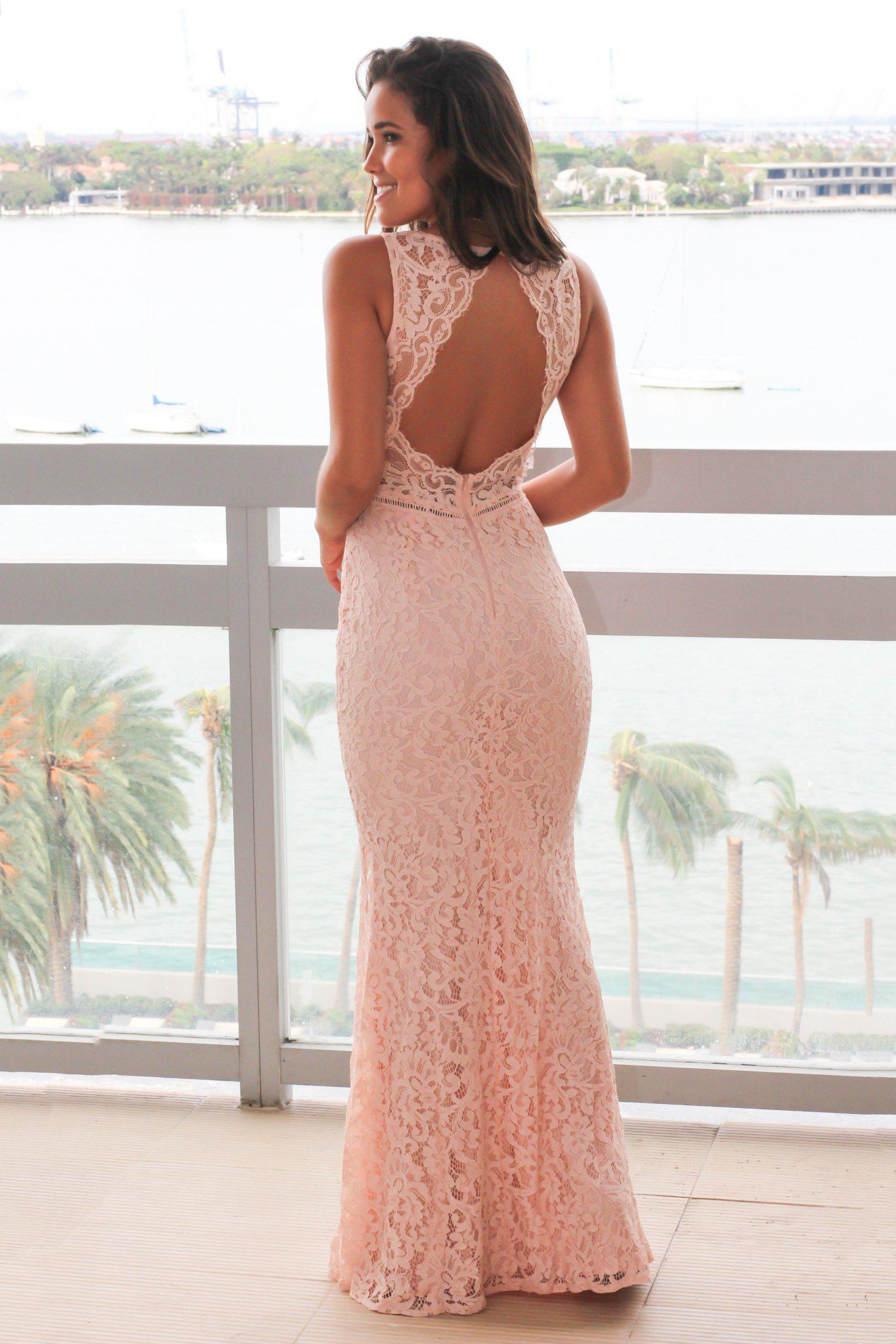 Blush Lace Maxi Dress with Mesh V-Neck