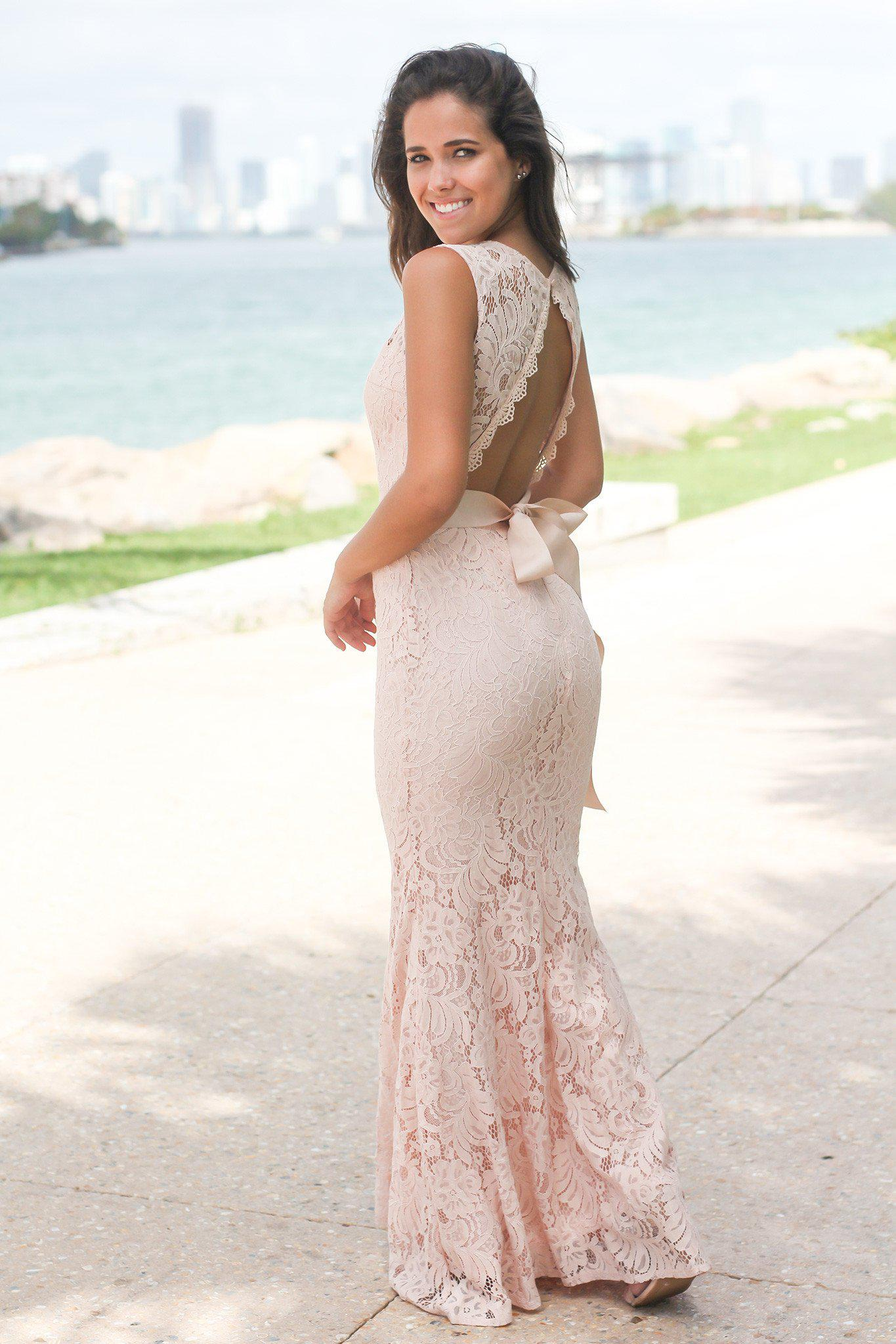 Blush Lace Maxi Dress with Open Back and Ribbon
