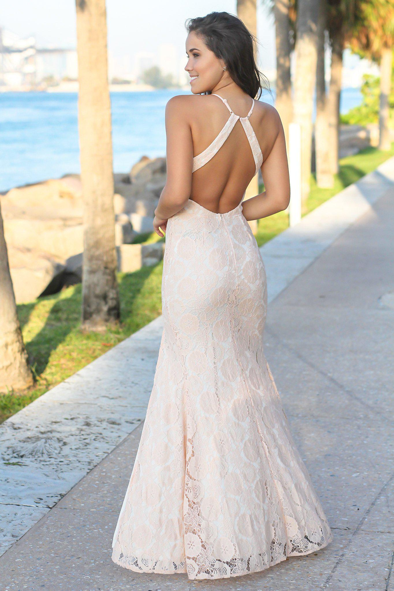 Blush Lace Maxi Dress with Open Back and Side Slit
