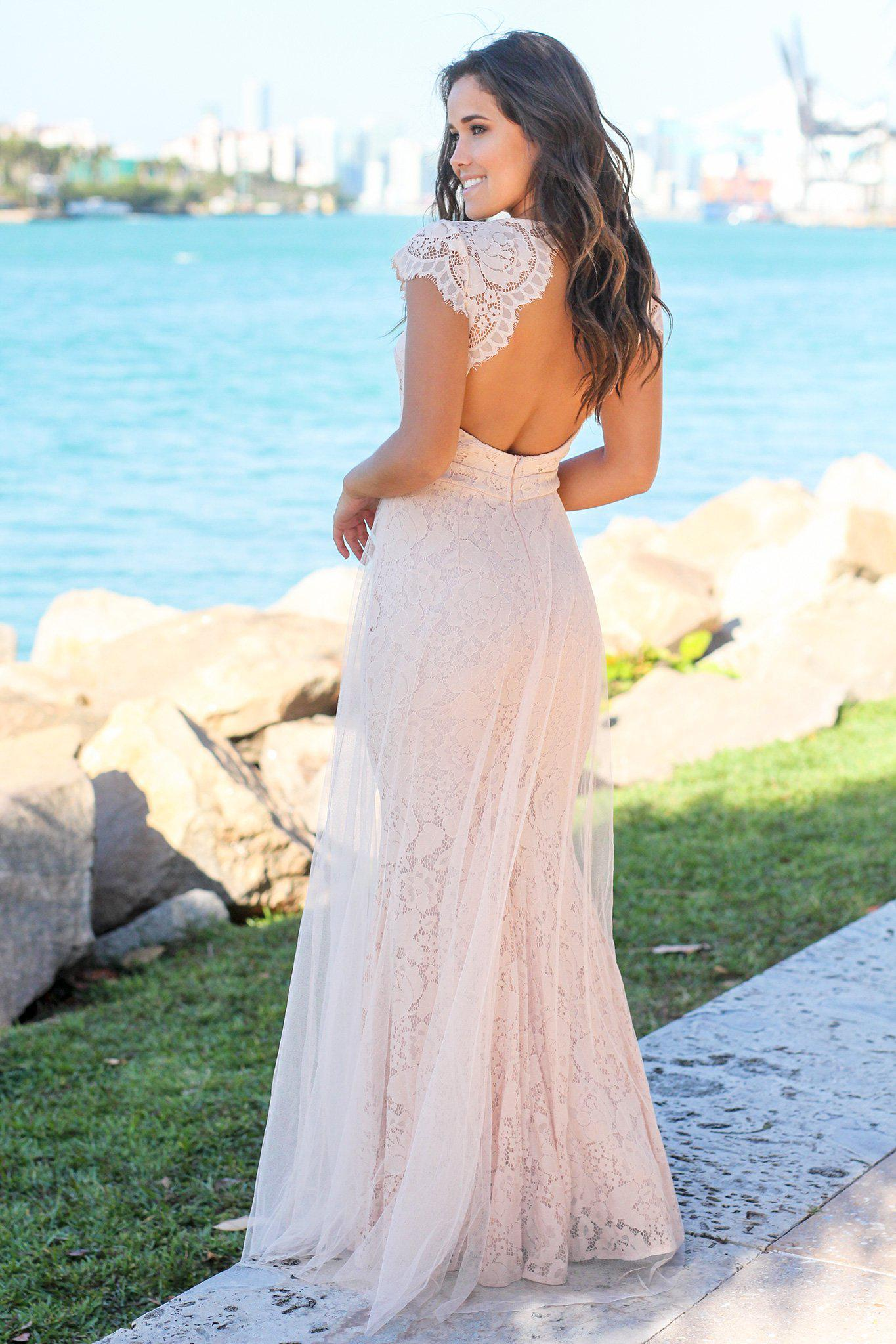 Blush Lace Maxi Dress with Open Back and Tulle Detail