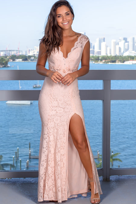 Blush Lace Maxi Dress with Scalloped Neckline