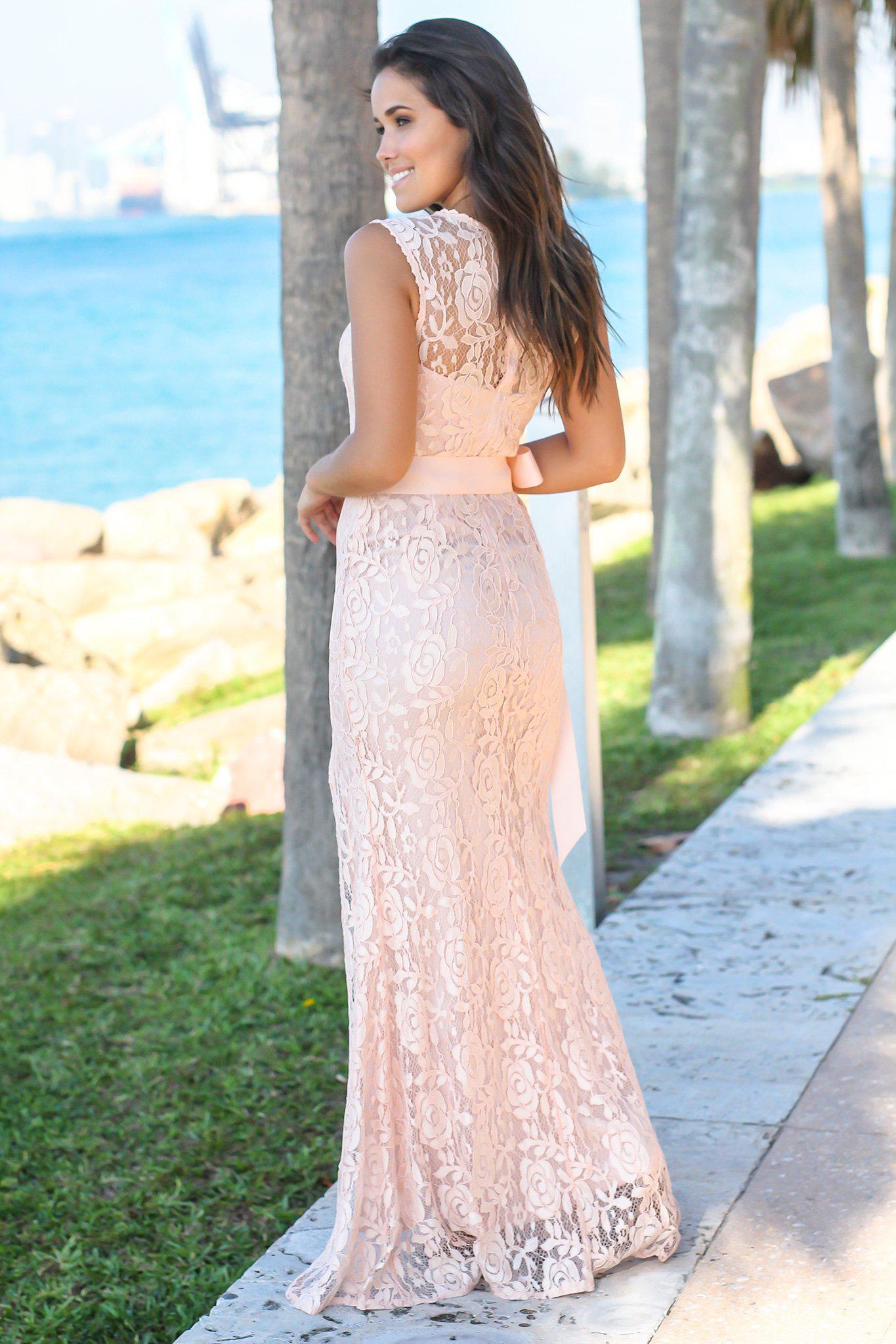 Blush Lace Maxi Dress with Tie Waist