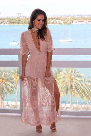 Blush Lace Maxi Romper