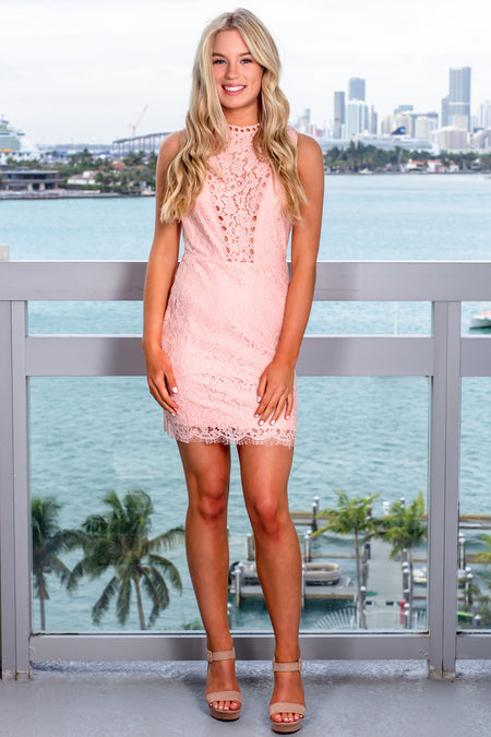Blush Lace Short Dress with Open Back Detail