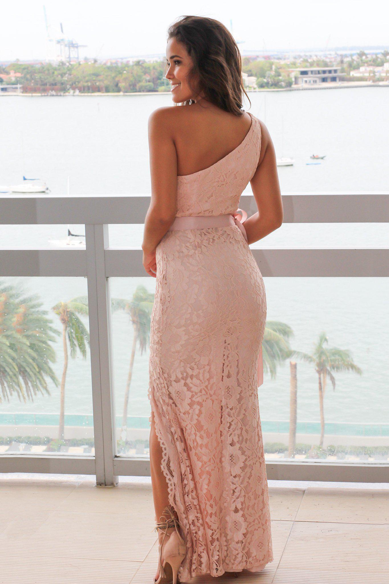 Blush Lace Single Strap Maxi Dress