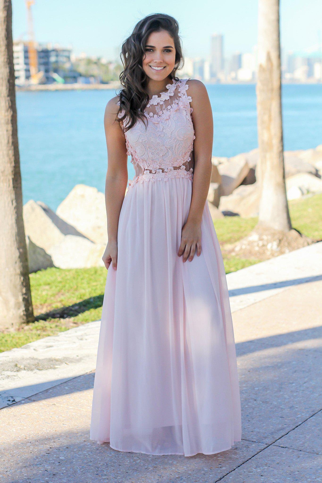 Blush Lace Top Maxi Dress with Tulle Back