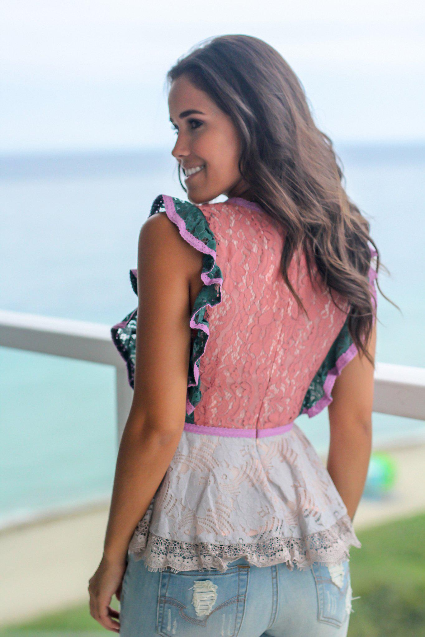 Blush Lace Top with Ruffle Detail