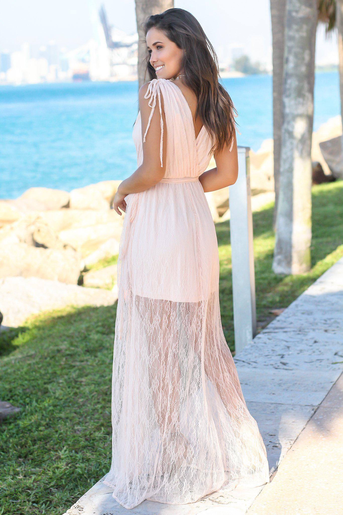 Blush Lace V-Neck Maxi Dress