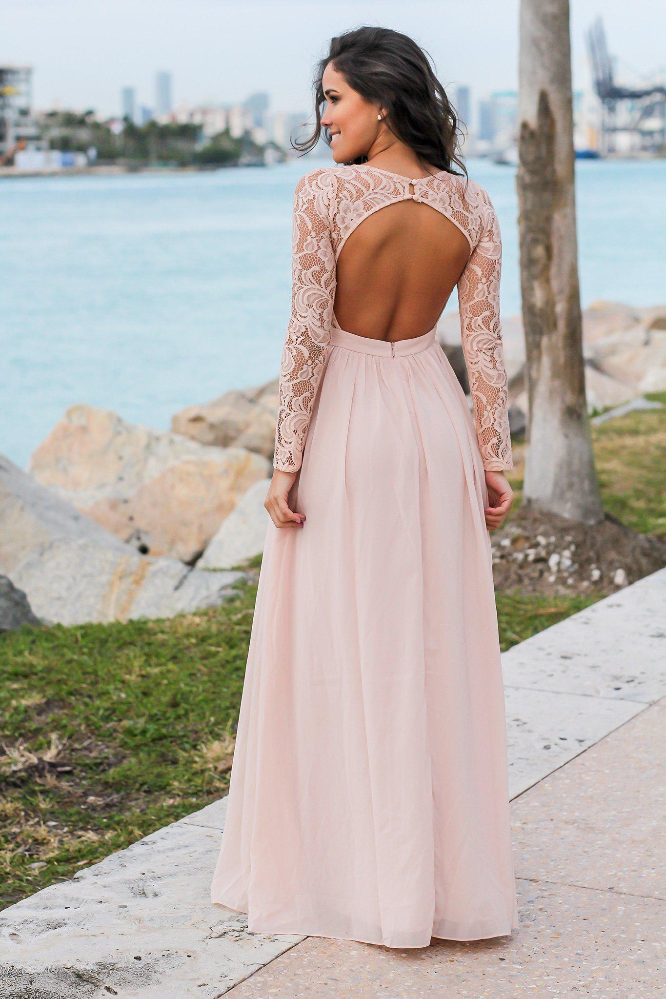 Blush Long Sleeve Maxi Dress with Crochet Top