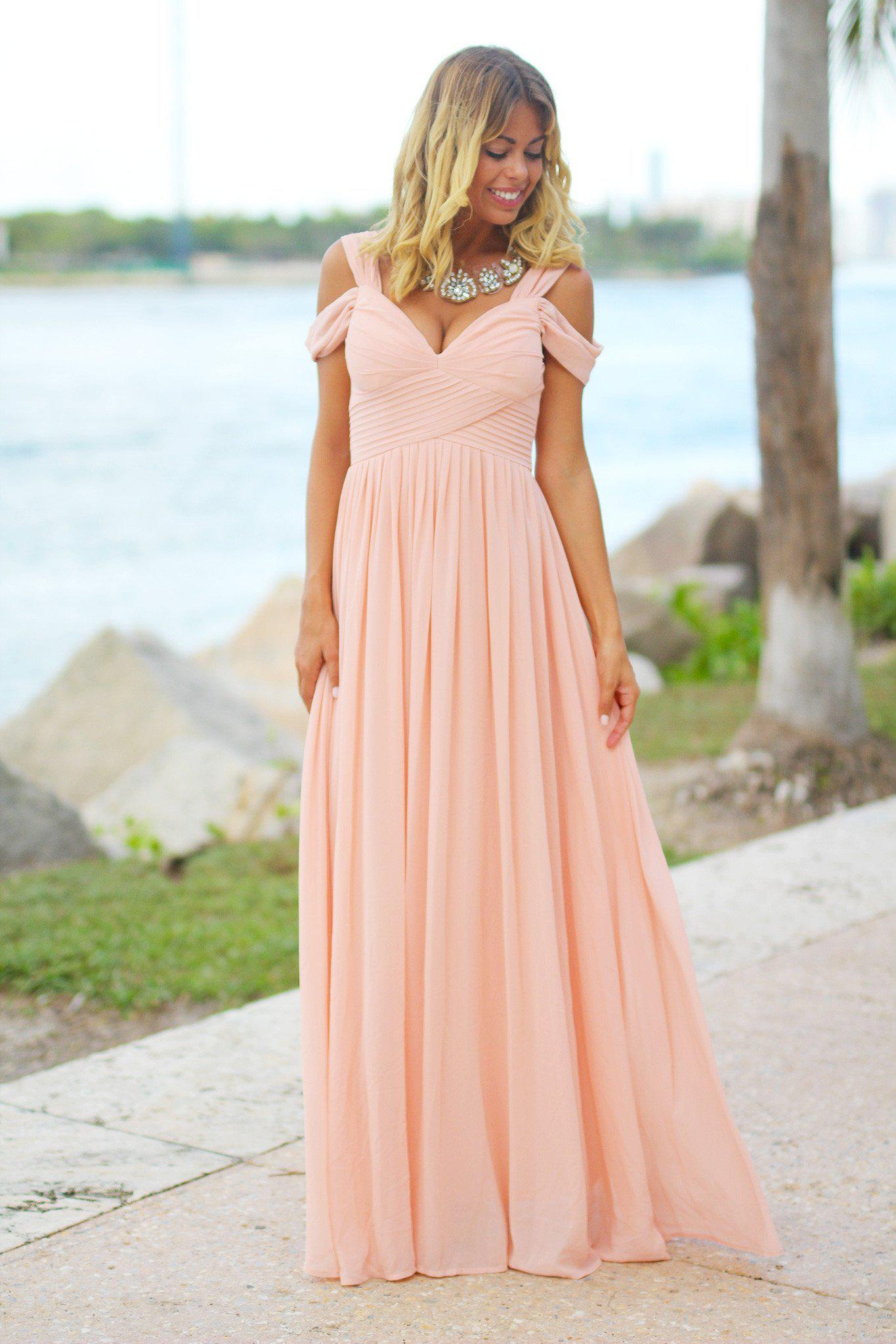 b02b6e42e78 Blush Off Shoulder Maxi Dress