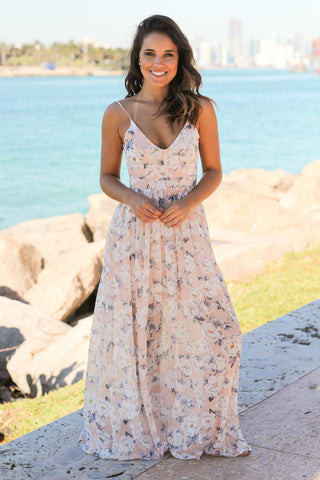Blush Floral Maxi Dress with Open Back