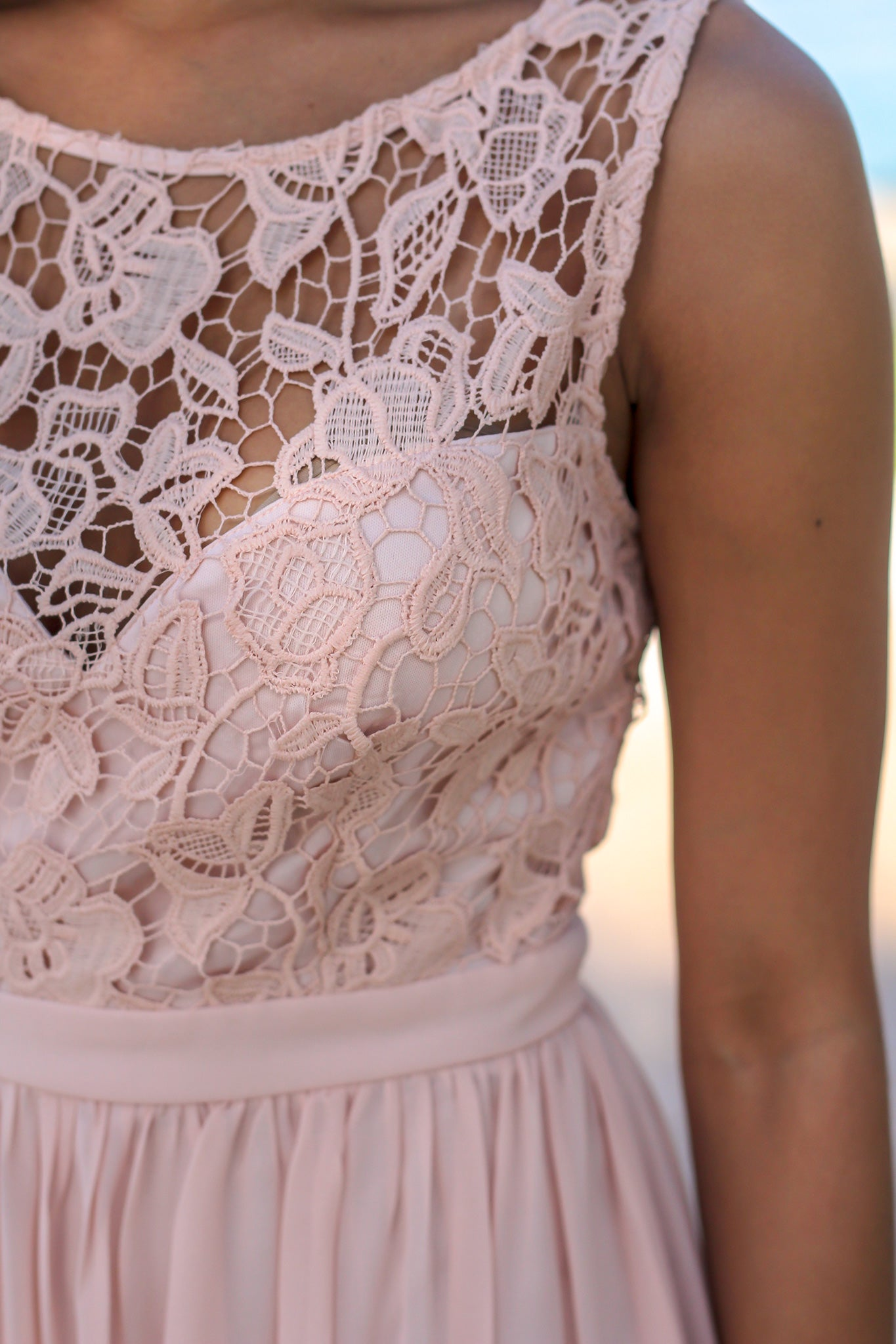 Blush Maxi Dress with Crochet Top