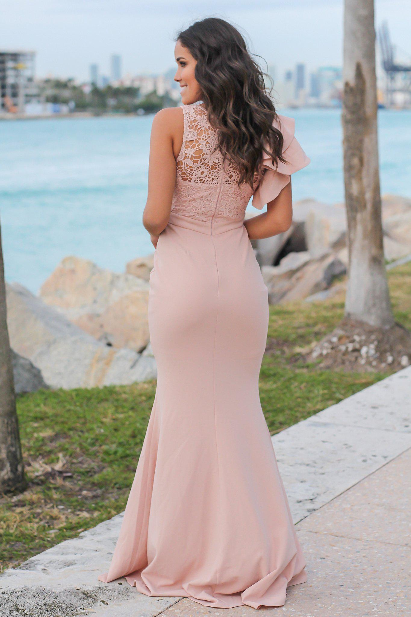 Blush Maxi Dress with Crochet Top and Ruffle Sleeve