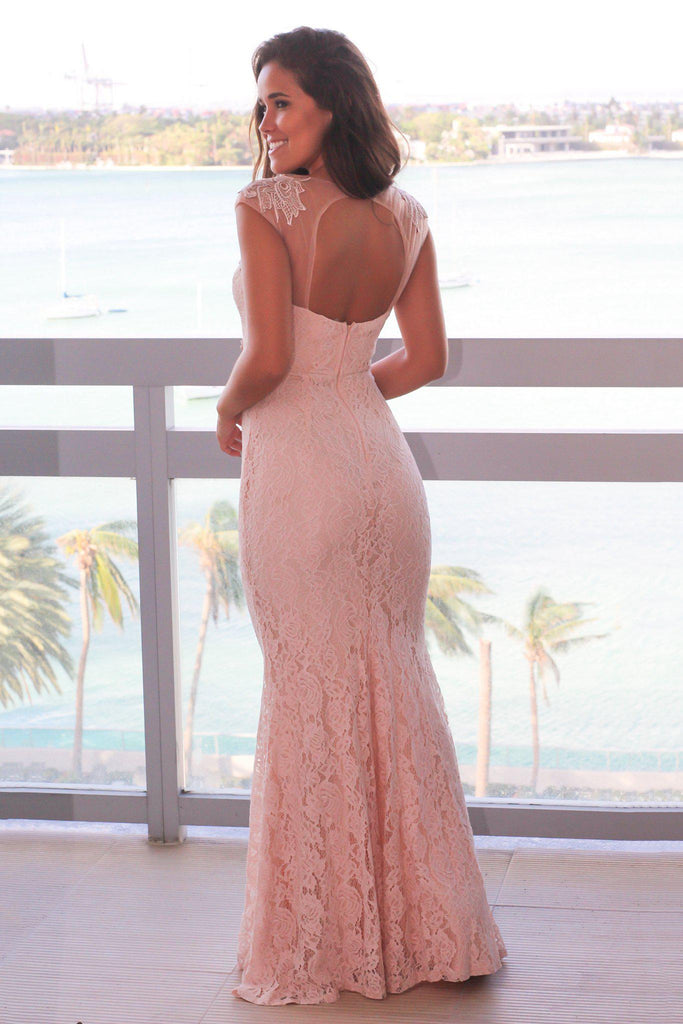 Blush Maxi Dress with Lace Detail