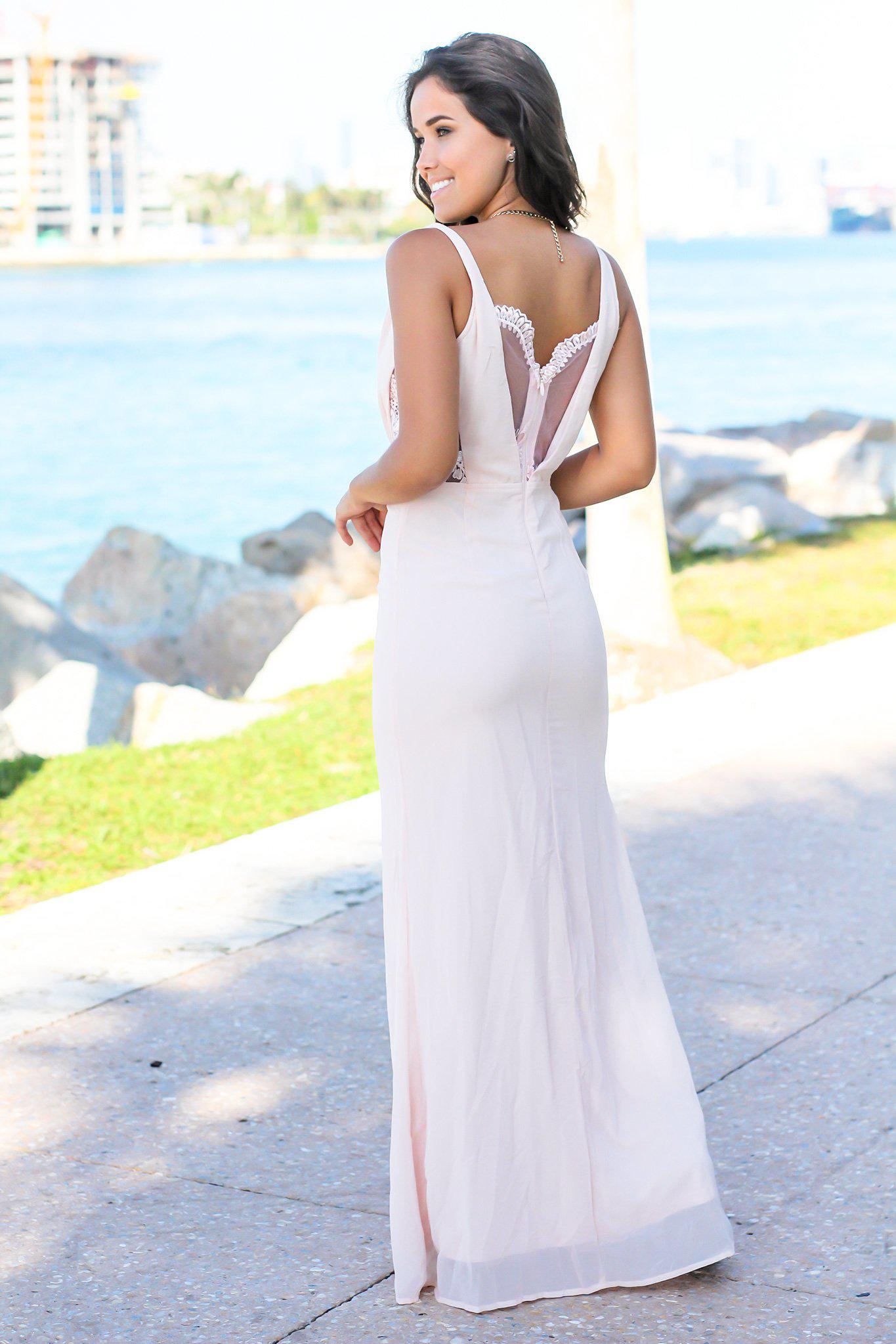Blush Maxi Dress with Lace Side Slit