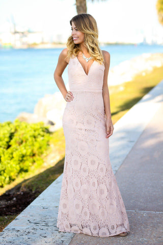 Blush Maxi Dress with Open Back