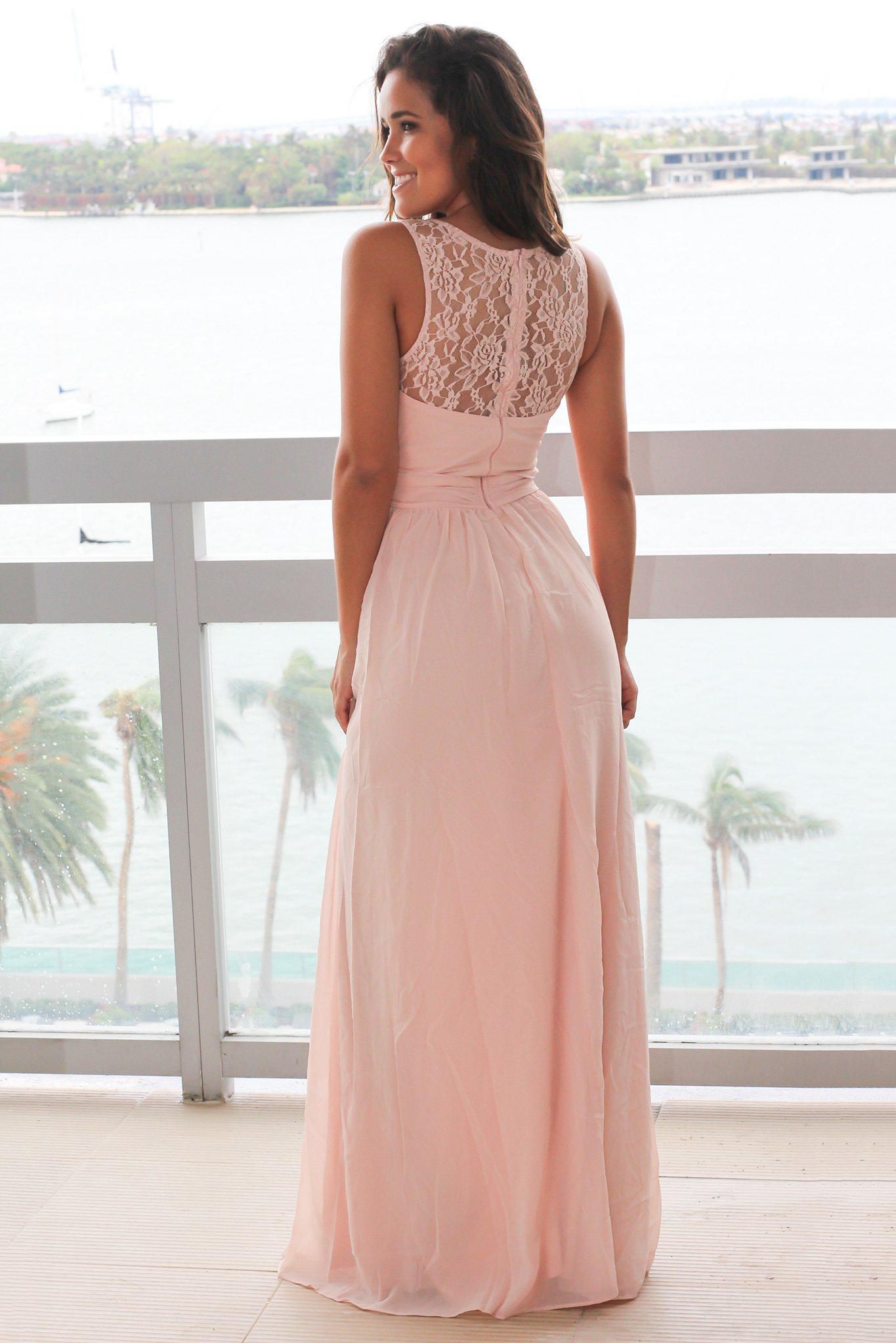 Blush Maxi Dress with Pleated Lace Top