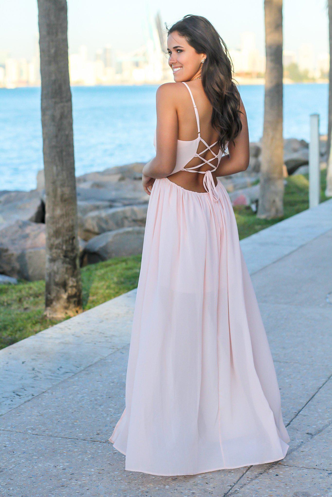 Blush Maxi Dress with Pleated Top and Lace Up Back