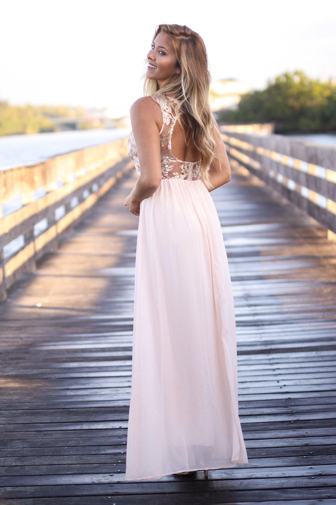 Blush Maxi Dress with Sequined Top