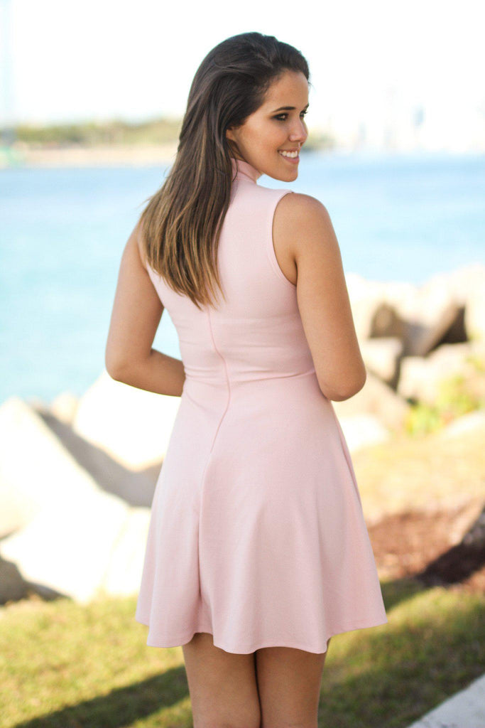Blush Mock Neck Short Dress