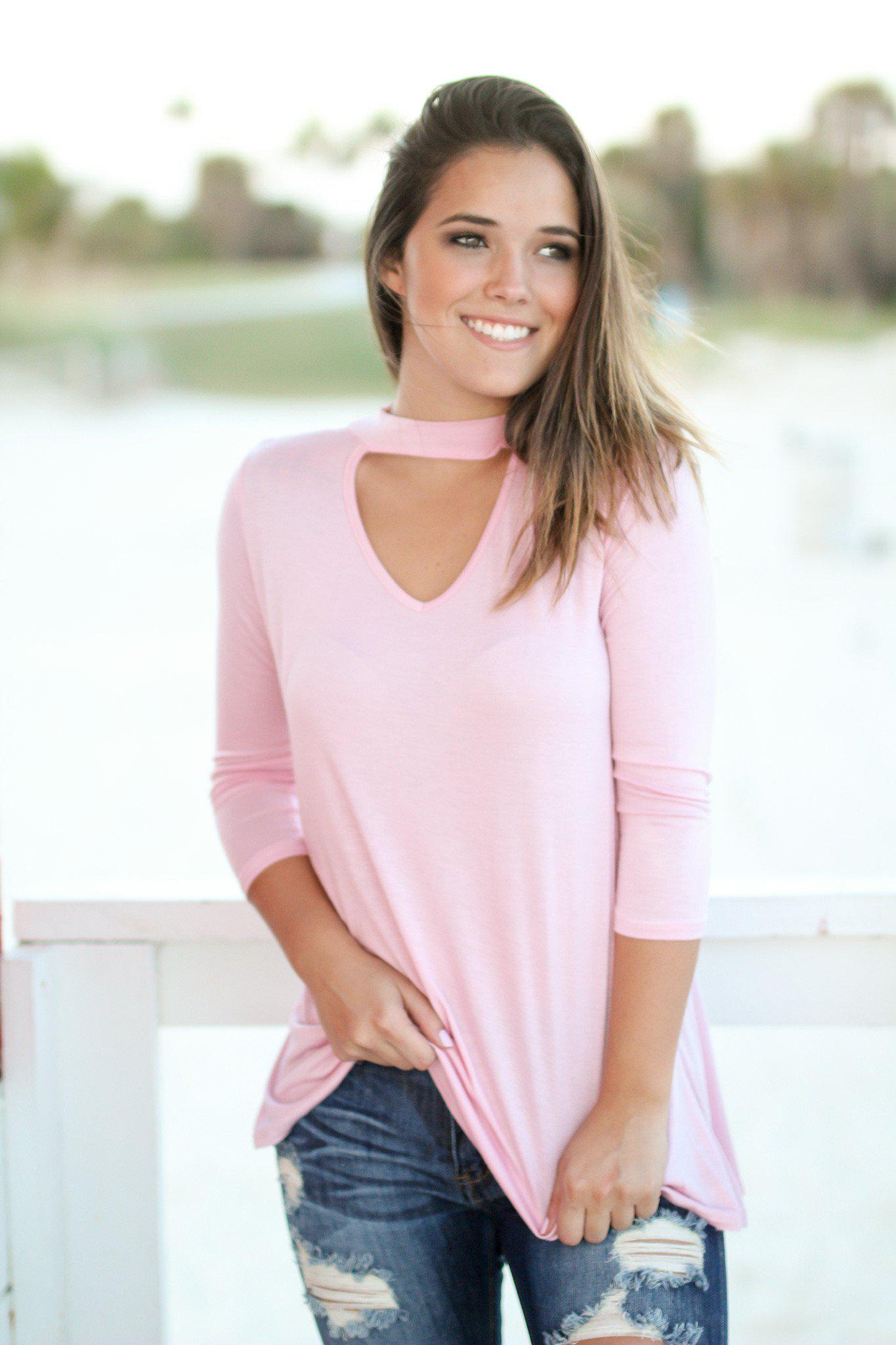 Blush Mock Neck Top with 3/4 Sleeves