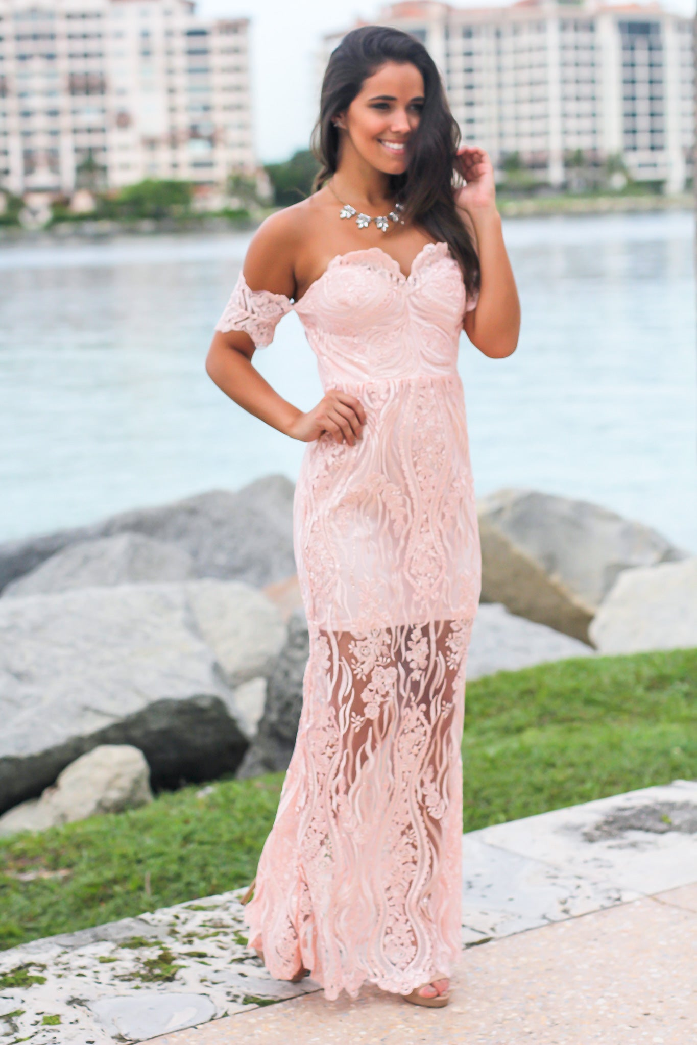 Blush Off Shoulder Embroidered Maxi Dress