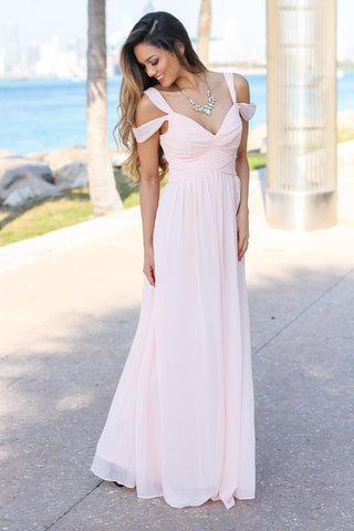 Blush Off Shoulder Maxi Dress with Pleated Top
