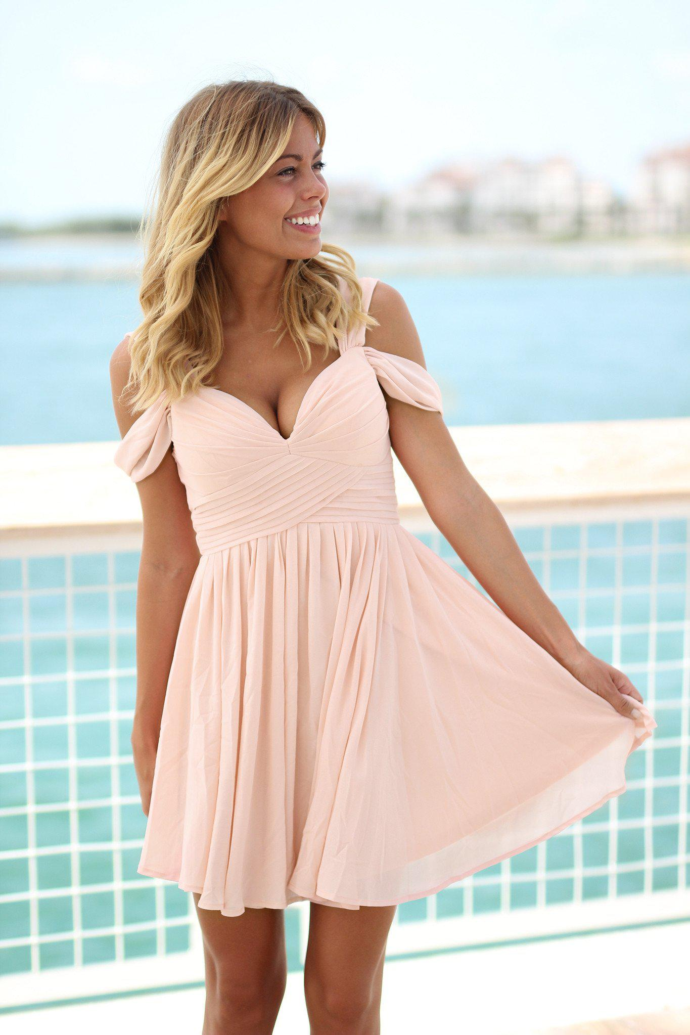 Blush Off Shoulder Short Dress