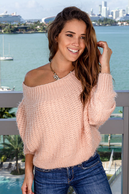 Blush Off Shoulder Sweater