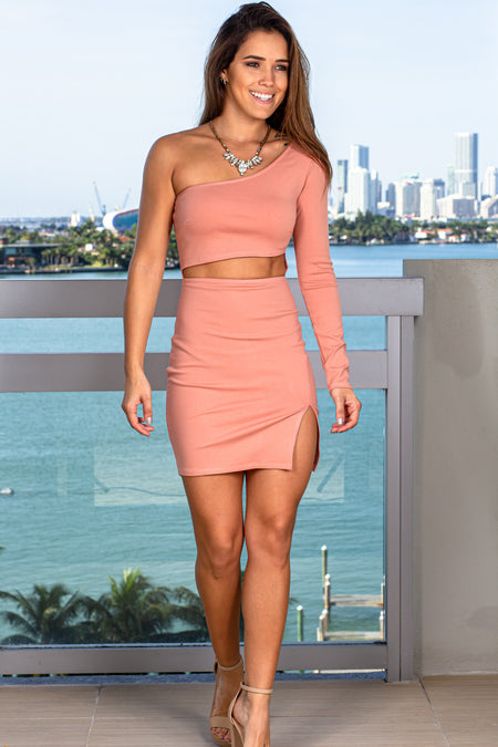 Blush One Shoulder Cut Out Short Dress