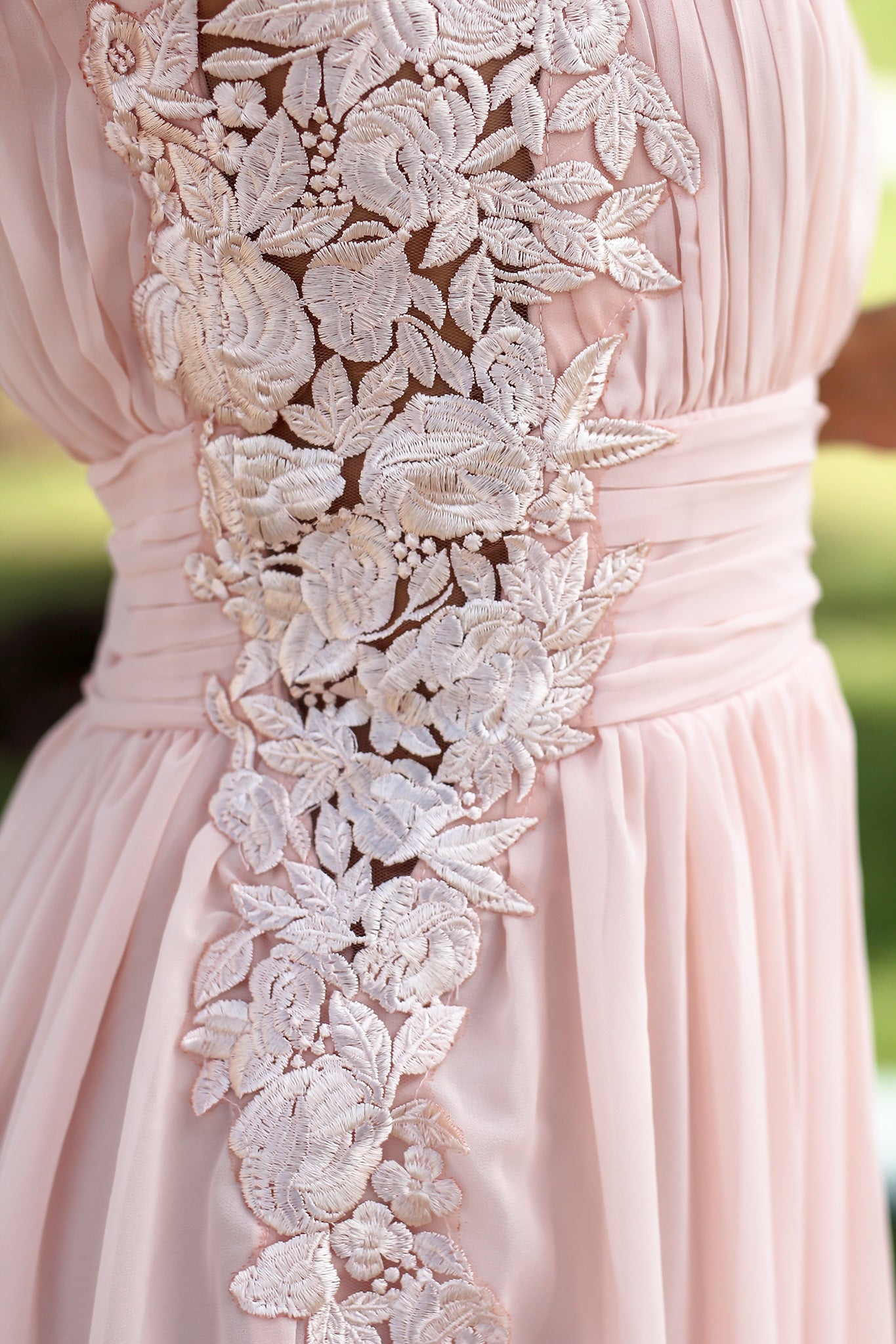 Blush Pleated Maxi Dress with Embroidered Sides