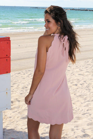 Blush Scalloped Short Dress