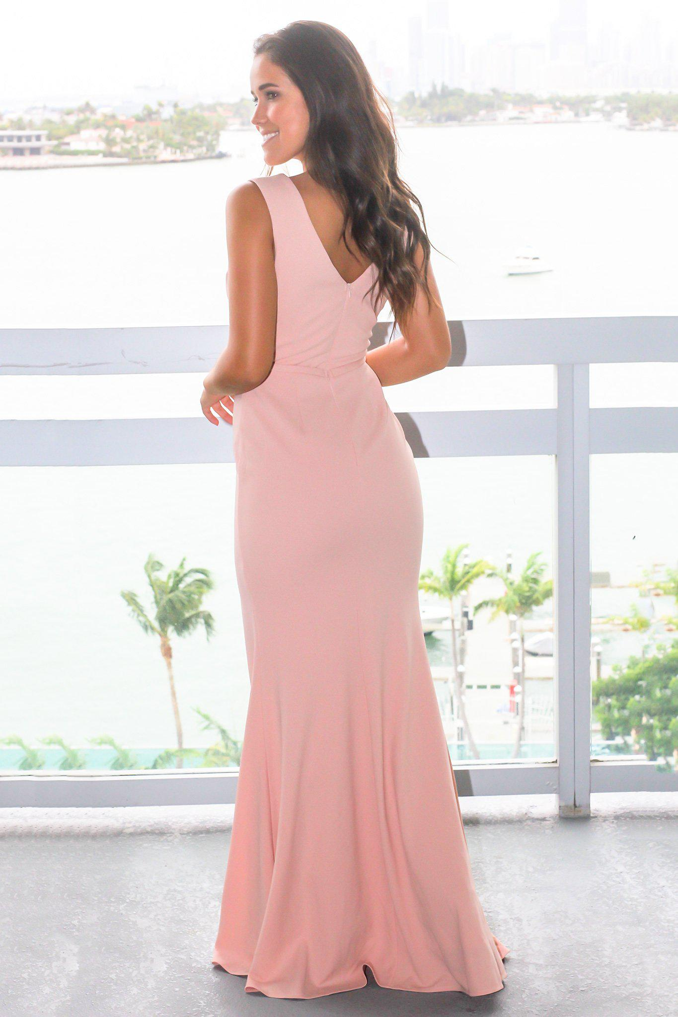 Blush Scalloped V-Neck Maxi Dress with Gold Belt