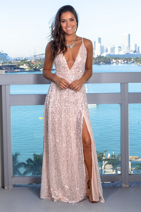 Blush Sequin Maxi Dress with Criss Cross Back