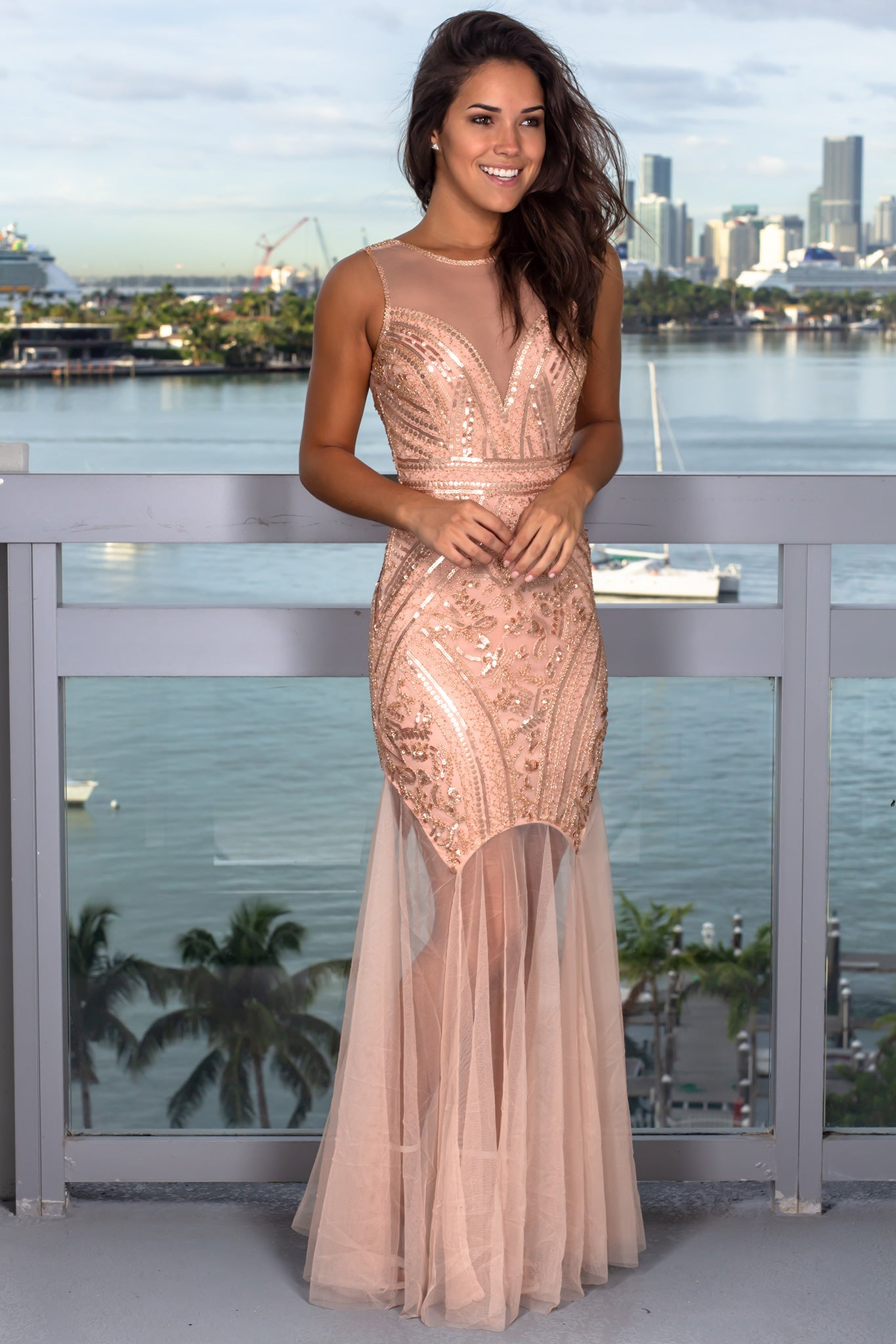 Blush Sequin Maxi Dress with Tulle Detail