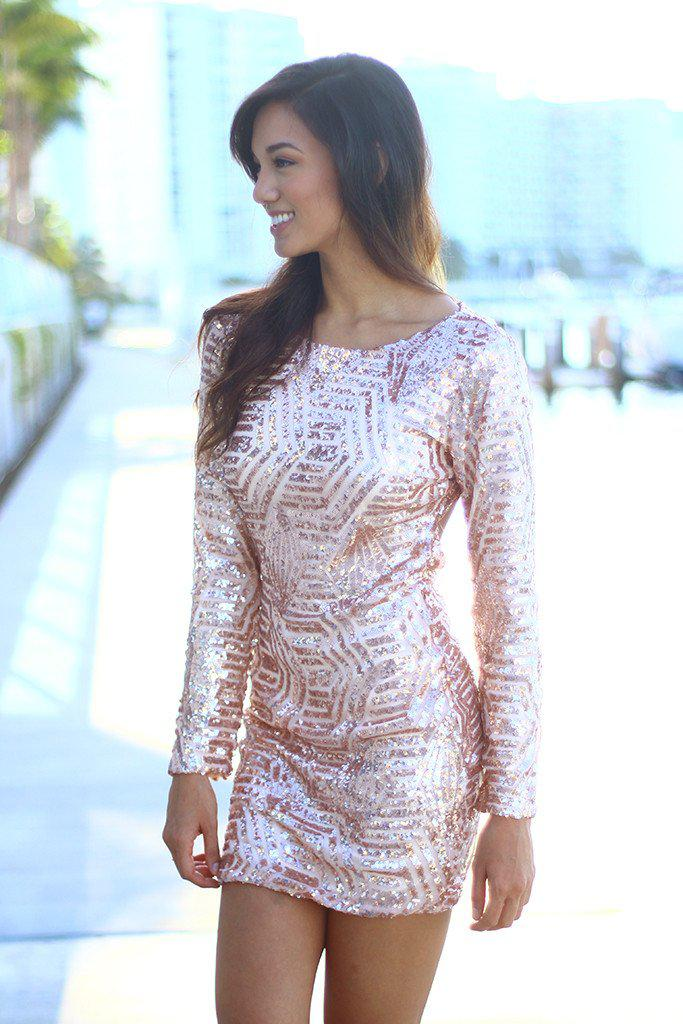 sequin blush dress