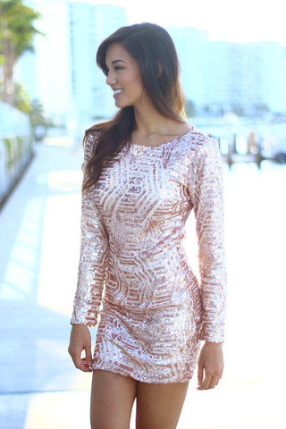 Blush Sequin Short Dress