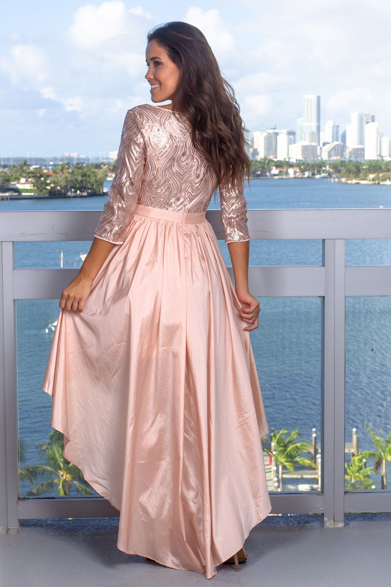 Blush Sequin Top High Low Dress