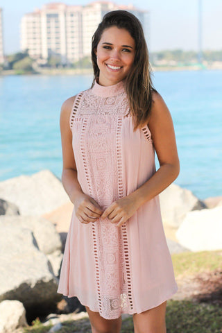 Blush Short Dress with Lace Detail