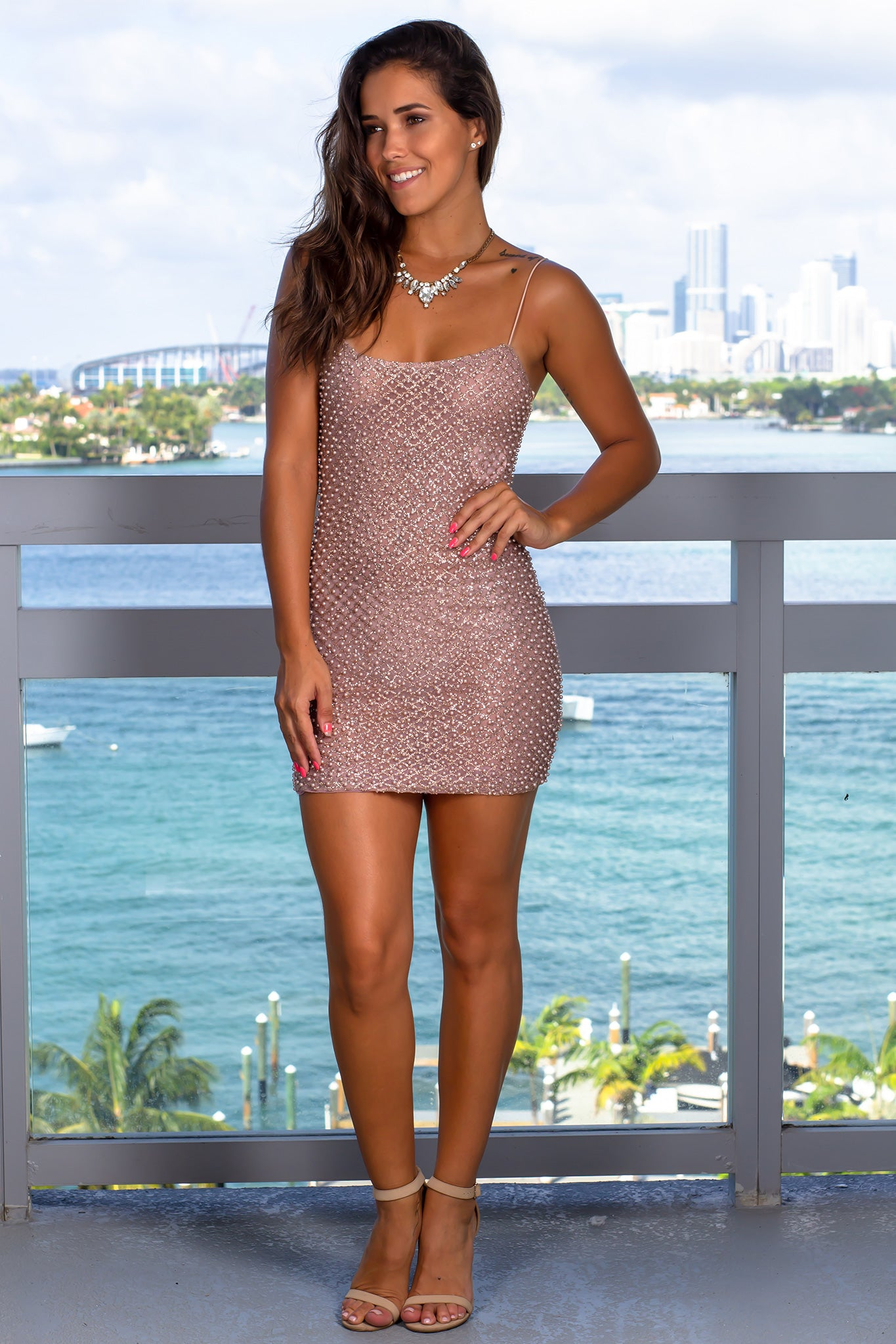 Blush Short Dress with Pearl Details