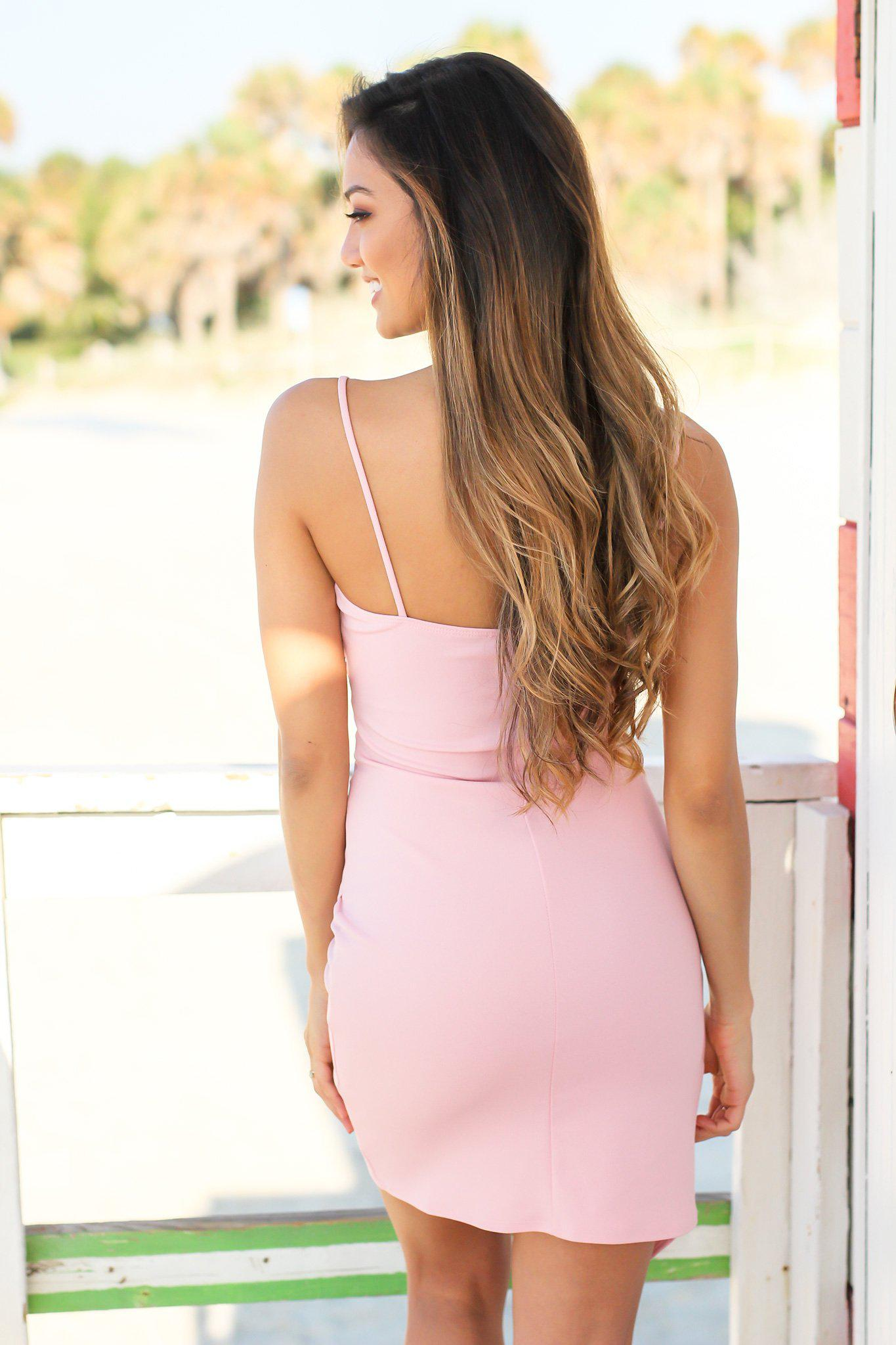 Blush Short Dress with Ruched Side