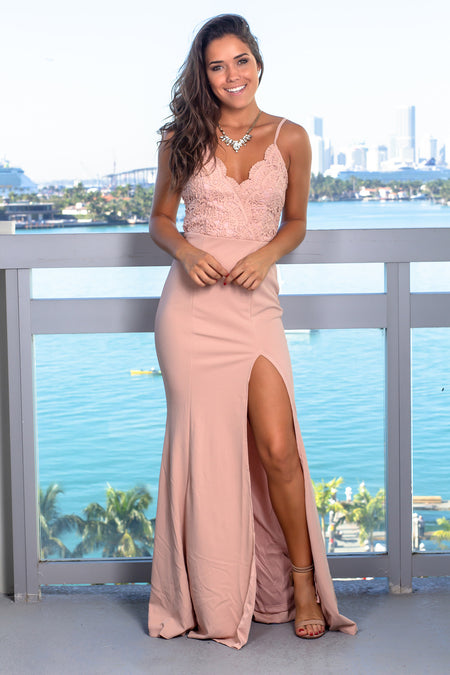 Blush Sleeveless Crochet Top Maxi Dress with Side Slit
