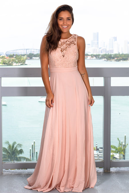 Blush Sleeveless Maxi Dress with Crochet Top